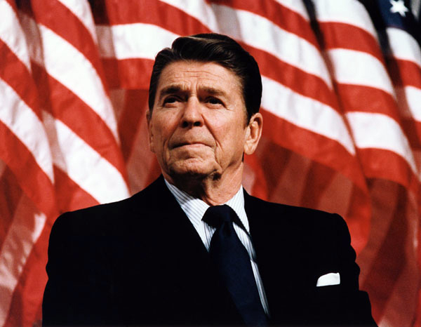 President Reagan speaking at a rally for Senator Durenberger